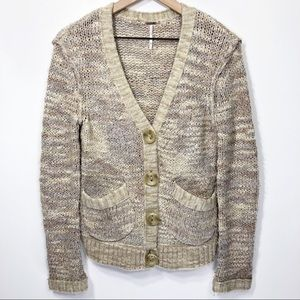Free People Tan Beige Textured School Cardigan